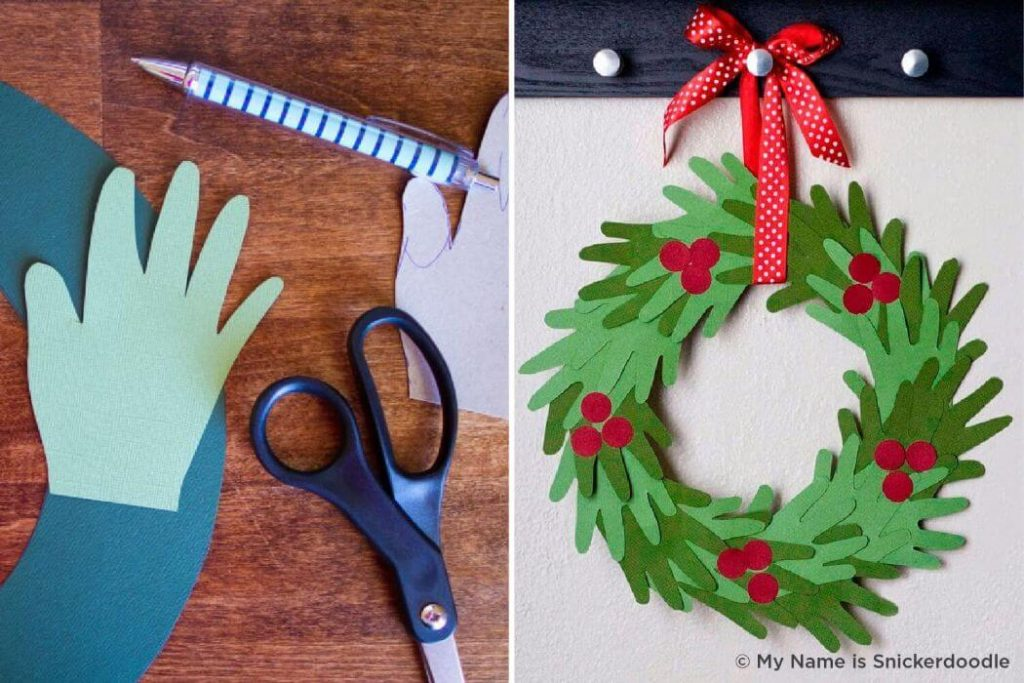 hand wreath Christmas Crafts for kids Easy Christmas Craft Ideas for Kids