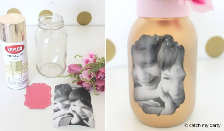 Photograph jar for Mother's day Mother's Day Craft Ideas for Kids