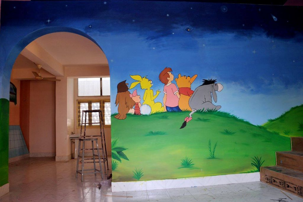 Cartoon characters wall painting idea