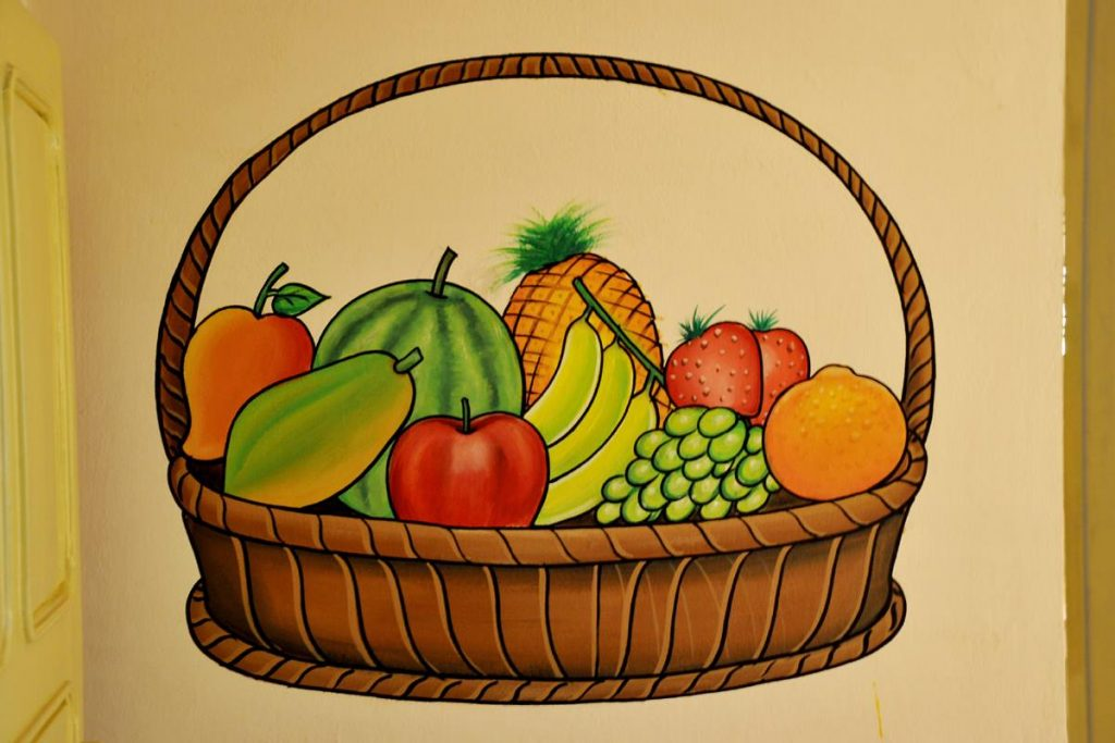 Fruits and vegetables basket wall painting