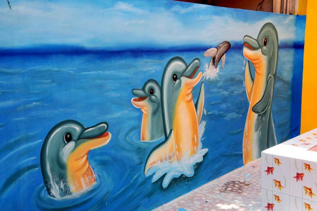 Playful dolphins wall painting