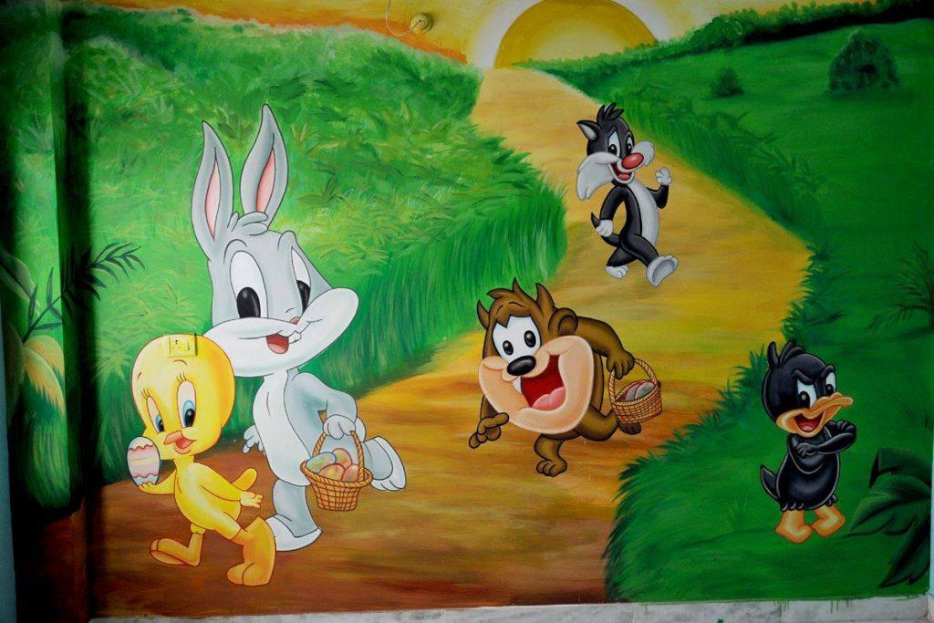 Looney toones play school wall paintings