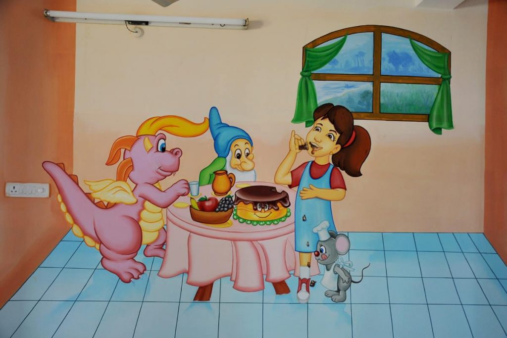 Cartoon character wall paintings for school