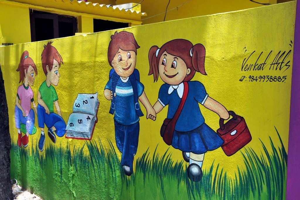 School wall painting educational wall painting