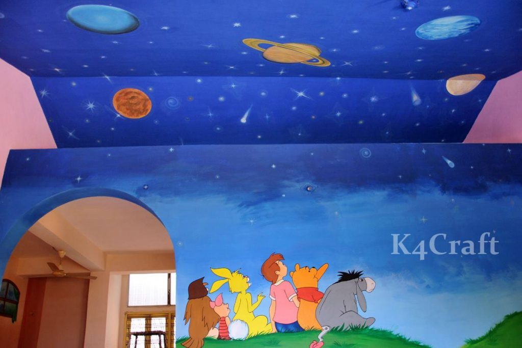 Universe, planets wall painting