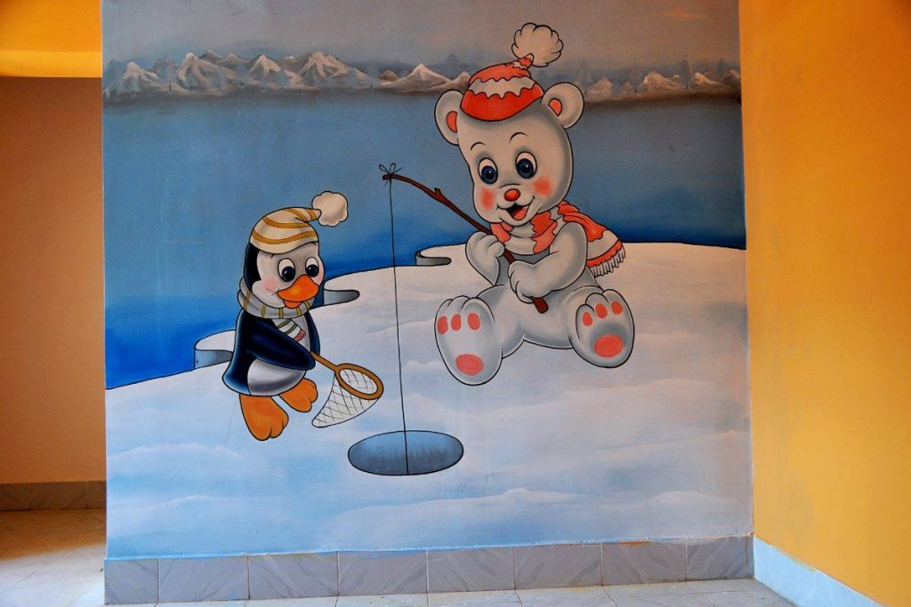 Ice area play school wall painting
