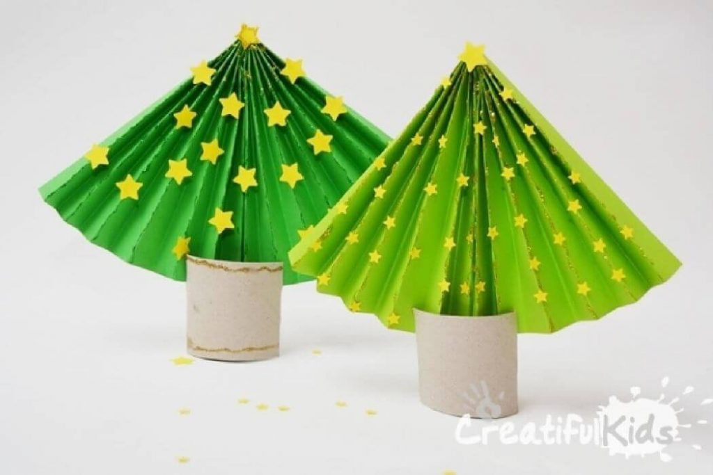 Paper Christmas tree Christmas Crafts for kids Easy Christmas Craft Ideas for Kids