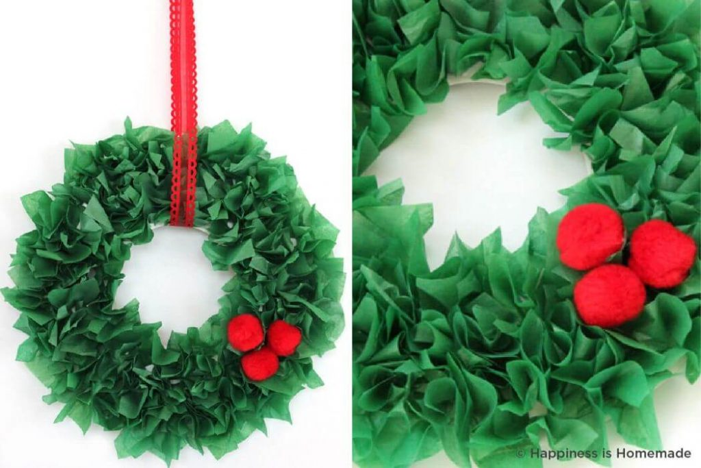 Green tissue paper Christmas Crafts for kids Easy Christmas Craft Ideas for Kids