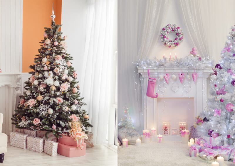 Pink decorations for Christmas Christmas Color Schemes For Decoration