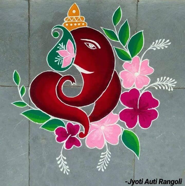 implistic Lord Ganesha Rangoli design Lord Ganesha rangoli designs