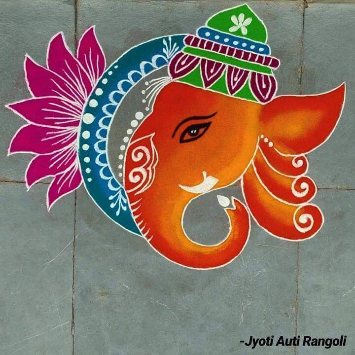 Lotus and Lord Ganesha Rangoli design Lord Ganesha rangoli designs