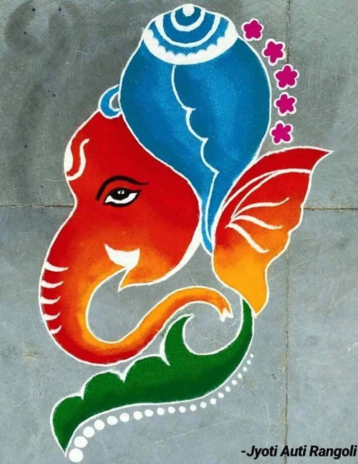 Beautiful and easy Lord Ganesha Rangoli design Lord Ganesha rangoli designs