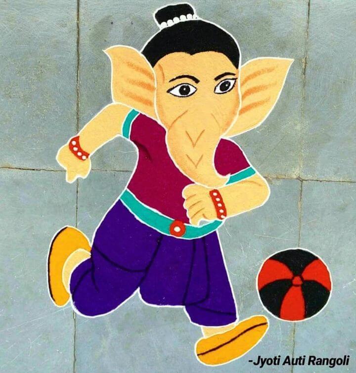 Bal Ganesha Rangoli design Lord Ganesha rangoli designs
