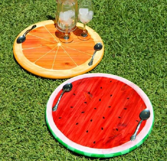Orange Wooden DIY Serving Tray Ideas