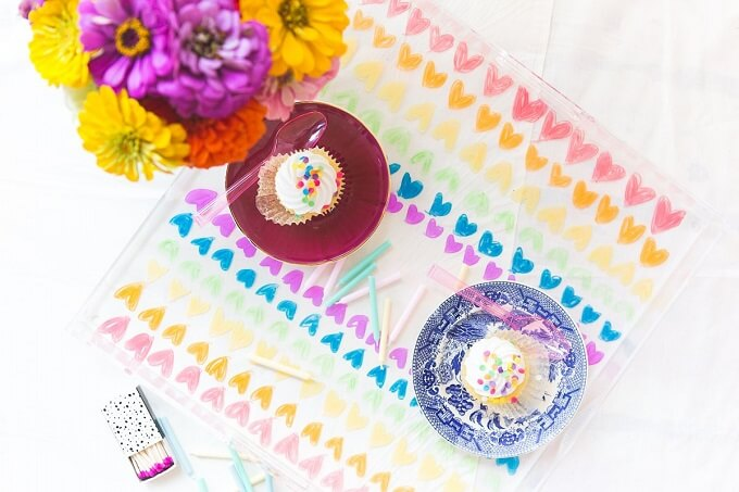 Colorful Patterned DIY Serving Tray Ideas