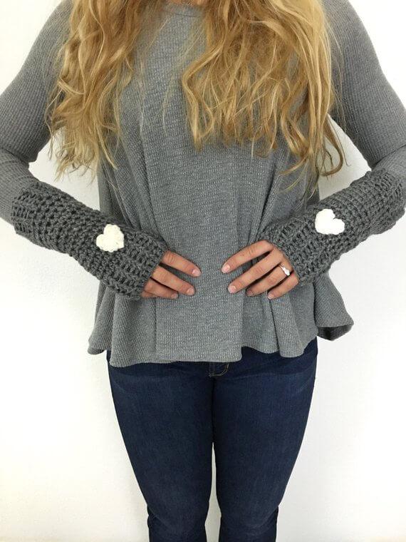 Beautiful Heart Crochet Pattern Patchwork On Sweater