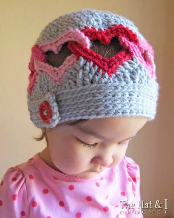 Crochet Heart Patterns For Headgear - without magic ring