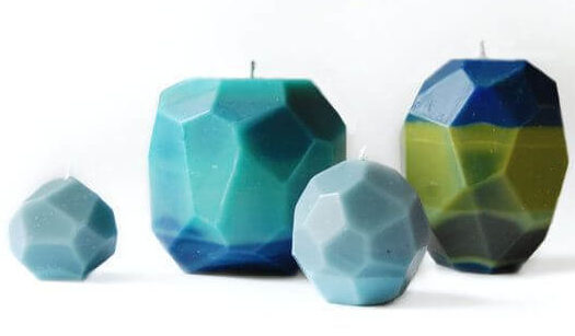 Geometric, faceted candles DIY Candle Decoration Ideas for Festivals, Birthdays and Celebrations