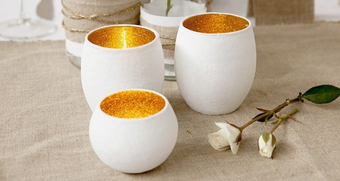 Glitter and glass votives DIY Candle Decoration Ideas for Festivals, Birthdays and Celebrations