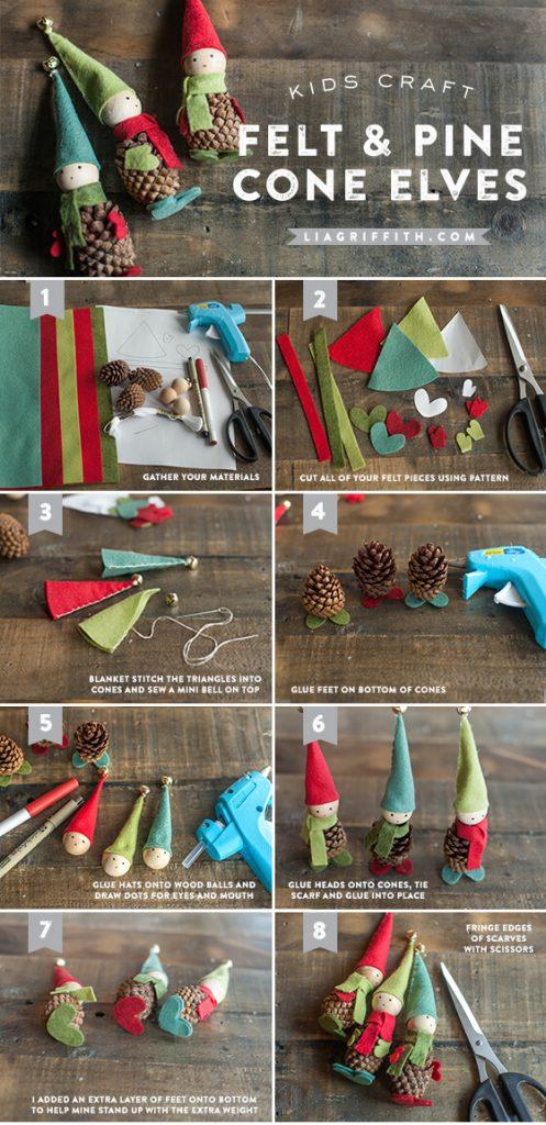 Felt and pine cone elves Christmas Ornaments Unique DIY Homemade Christmas Ornaments