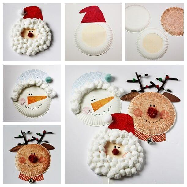 Cute Paper Plate Christmas Themed Crafts | Step by Step Image Tutorials