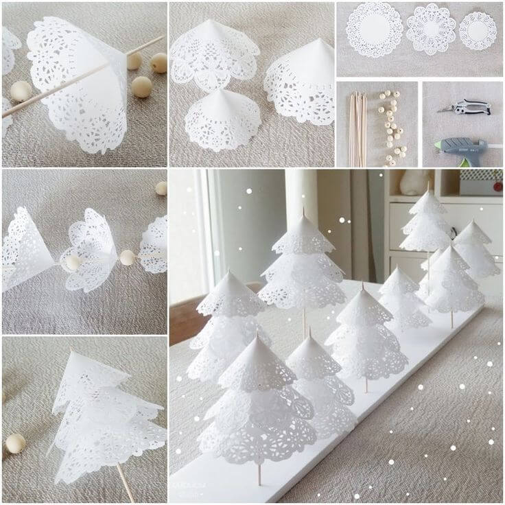 Adorable Doily Paper Christmas Trees Christmas Themed Crafts | Step by Step Image Tutorials
