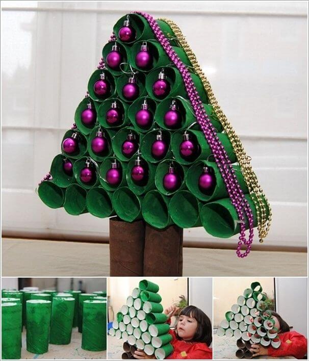 Christmas Balls and Toilet paper Roll Tree Christmas Themed Crafts | Step by Step Image Tutorials