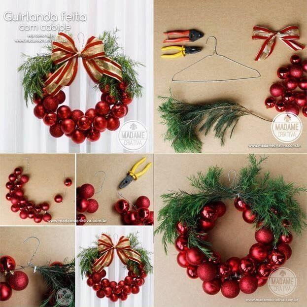Adorable Christmas Balls Themed Wreath Christmas Themed Crafts | Step by Step Image Tutorials