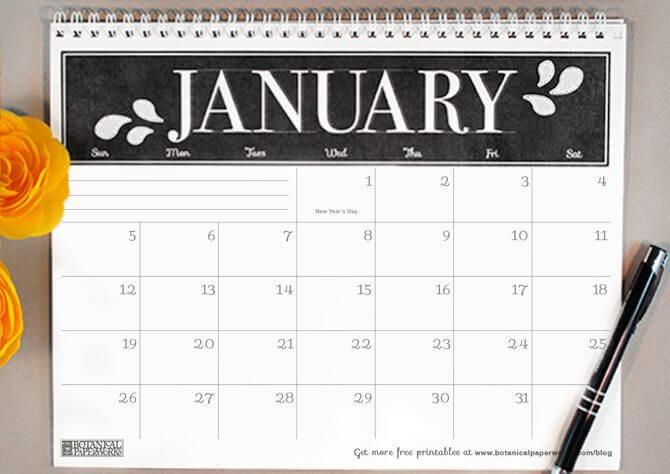 Beautiful Black Finish Calendar 2020