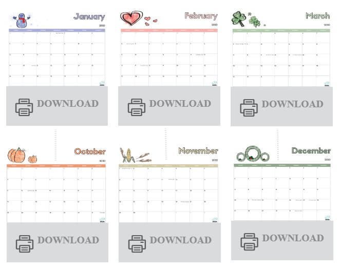 Simple, Don-loadable Calendar 2020 - Free Printable