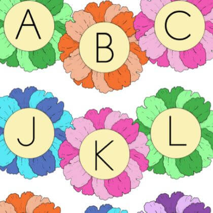 Colorful flowers making to learn alphabets Easy to Make File Folder Games for Kids