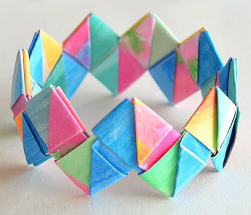 Easy Origami Paper Crafts For Kids (Step By Step Instructions) - Bracelet Made From Origami