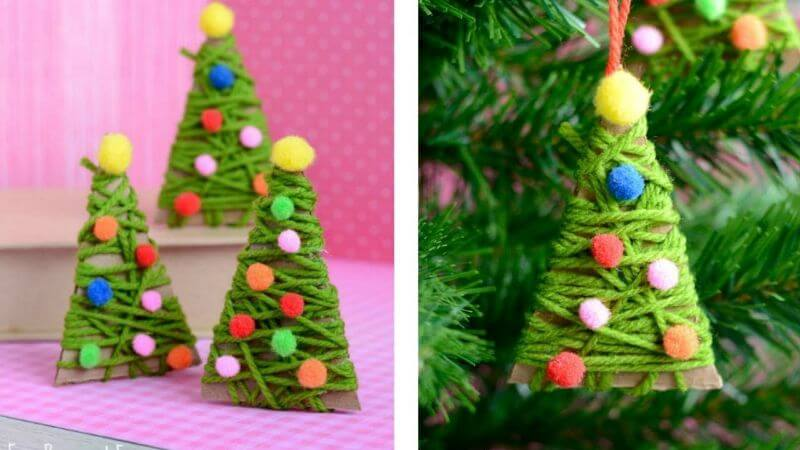 Beautiful Thread Christmas Tree Craft For kids