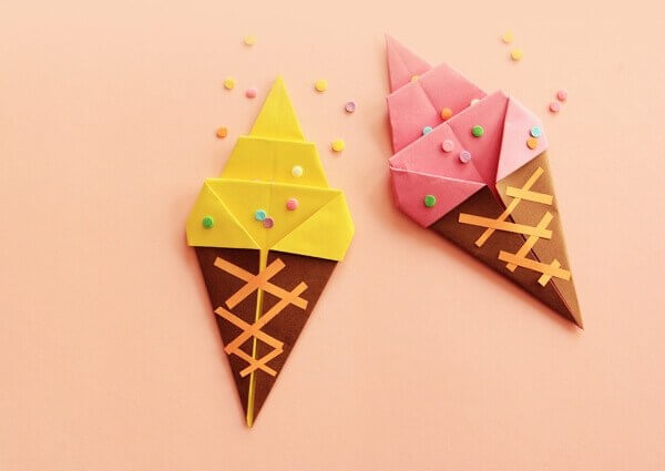 Easy Origami Paper Crafts For Kids (Step By Step Instructions) - Origami Ice Cream Cones