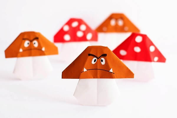 Easy Origami Paper Crafts For Kids (Step By Step Instructions) - Mushrooms Made Out Of Origami