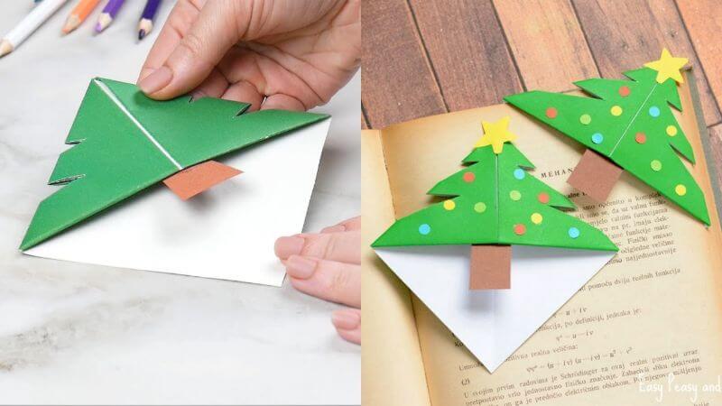 Origami Corner Bookmark Christmas Tree Idea