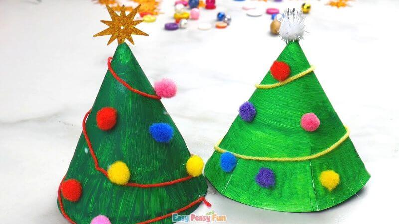 Paper Plate and Pom Poms Christmas Tree Craft for Kids