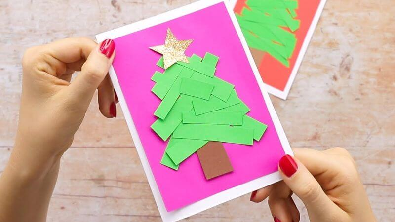 Paper Strips Simple Christmas Card
