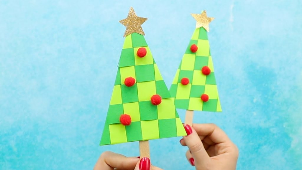 Paper Weaving Christmas Tree Craft Ideas for Kids