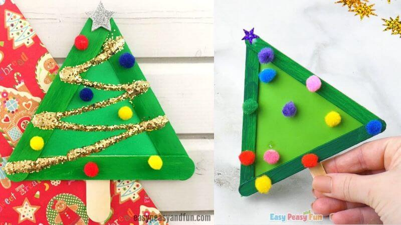 Simple Christmas Tree Craft for Kids from Craft Sticks