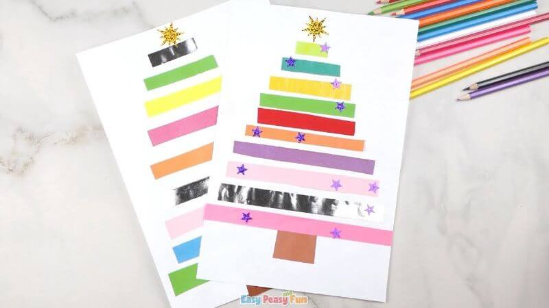 Simple Christmas Tree Paper Craft for Kids Easy