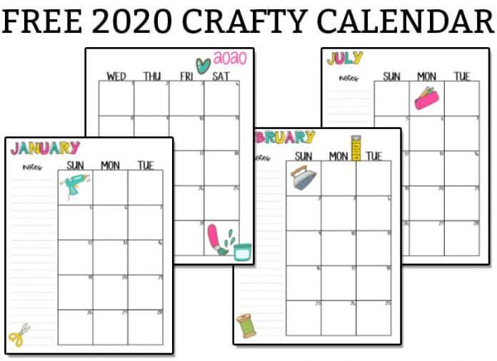 Free Crafty Printable Calendar For 2020