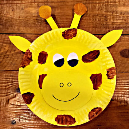 Plate Giraffe craft for kids Yellow Crafts for Toddlers