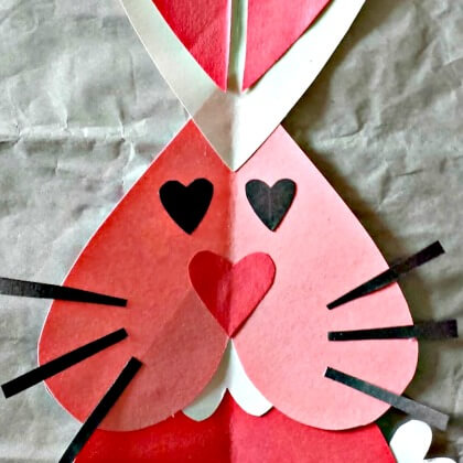 Heart Bunny Rabbit Craft For Kids - Heart Crafts for Kids - Preschool Valentine's Day Crafts