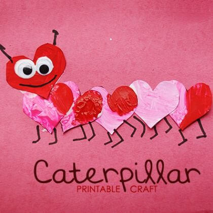Lovebug Heart Caterpillar - Heart Crafts for Kids - Preschool Valentine's Day Crafts