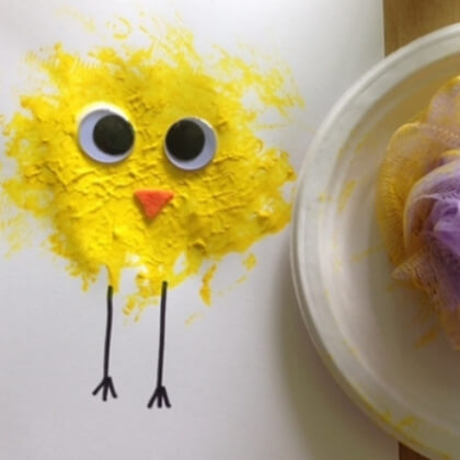 Making a yellow chick using old cloth or sponge Yellow Crafts for Toddlers
