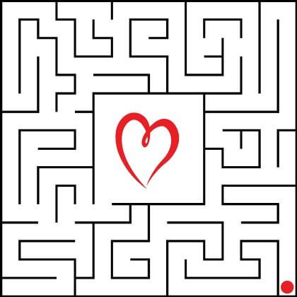 Reaching the Heart maze game for Children Valentine's Day Activities for Preschool