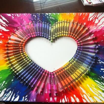 Melted Crayon Wax Heart canvas - Heart Crafts for Kids - Preschool Valentine's Day Crafts