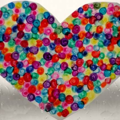 Melted Crayons colorful Dots heart