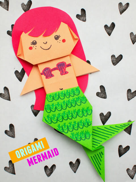 Easy Origami Paper Crafts For Kids (Step By Step Instructions) - Origami Mermaid
